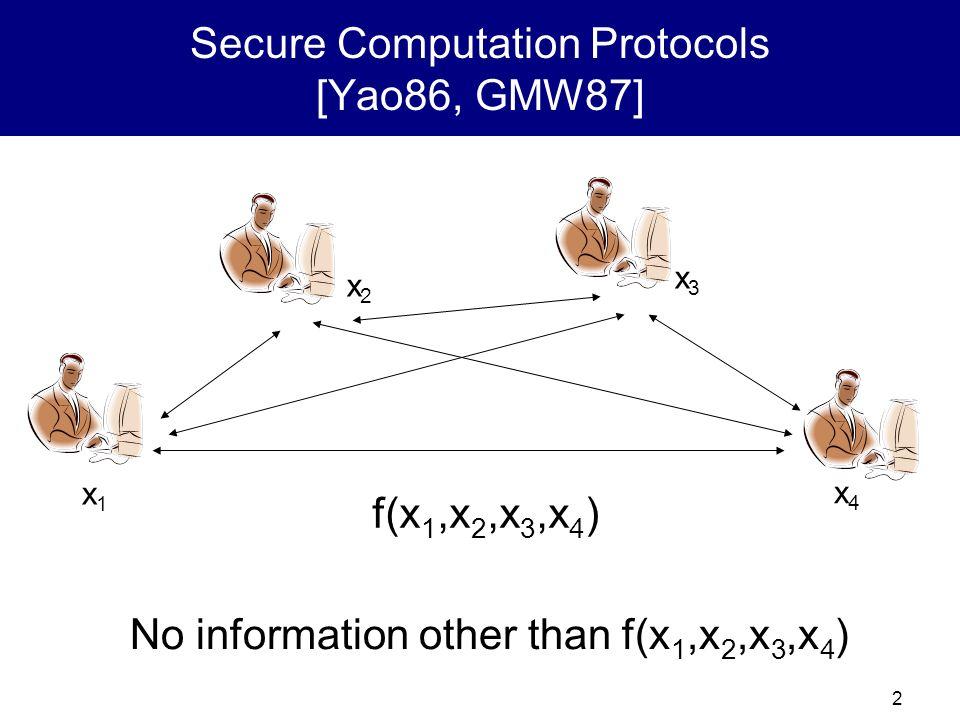 Secure Computation Protocols [Yao86, GMW87]